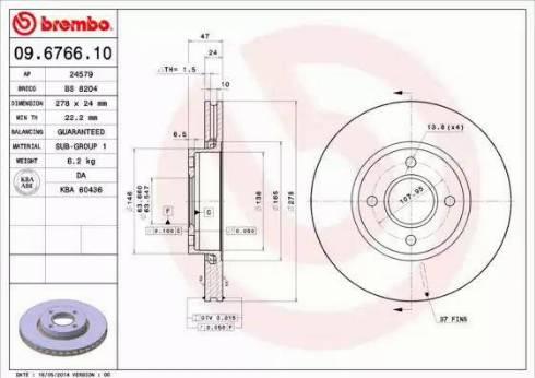 Brembo 09.6766.10 - Piduriketas multiparts.ee