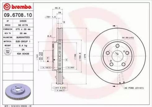 Brembo 09.6708.10 - Piduriketas multiparts.ee