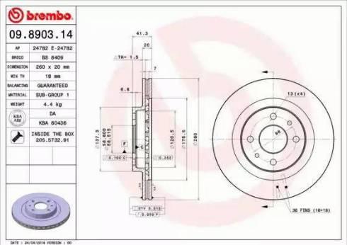 Brembo 09.8903.14 - Piduriketas multiparts.ee