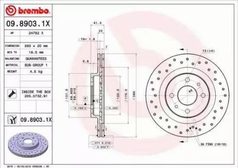 Brembo 09.8903.1X - Piduriketas multiparts.ee