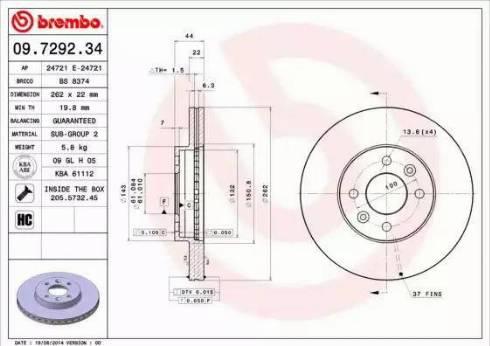 Brembo 09.7292.34 - Piduriketas multiparts.ee