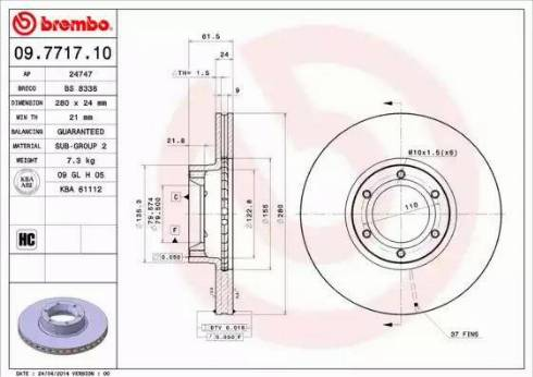 Brembo 09.7717.10 - Piduriketas multiparts.ee