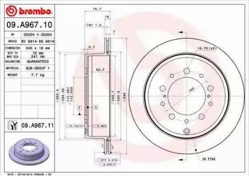 Brembo 09.A967.11 - Piduriketas multiparts.ee