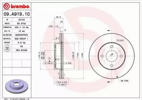 Brembo 09.A919.10 - Piduriketas multiparts.ee