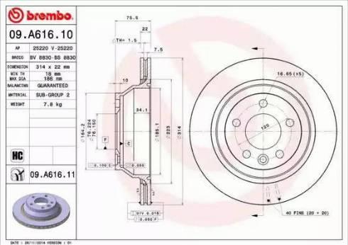 Brembo 09.A616.10 - Piduriketas multiparts.ee