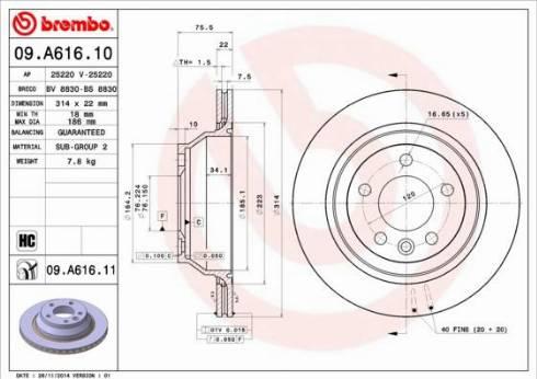 Brembo 09.A616.11 - Piduriketas multiparts.ee