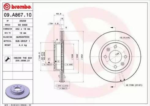 Brembo 09.A867.10 - Piduriketas multiparts.ee