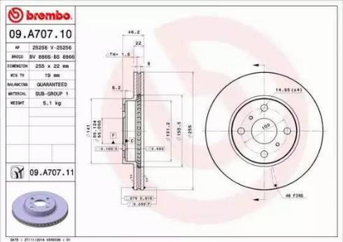 Brembo 09.A707.11 - Piduriketas multiparts.ee