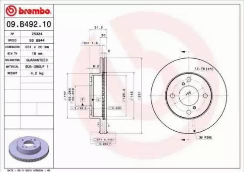 Brembo 09.B492.10 - Piduriketas multiparts.ee