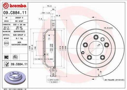Brembo 09.C884.11 - Piduriketas multiparts.ee