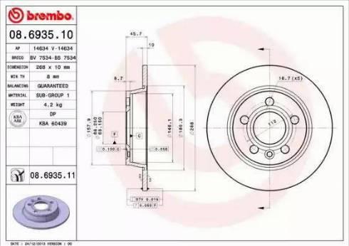 Brembo 08.6935.11 - Piduriketas multiparts.ee