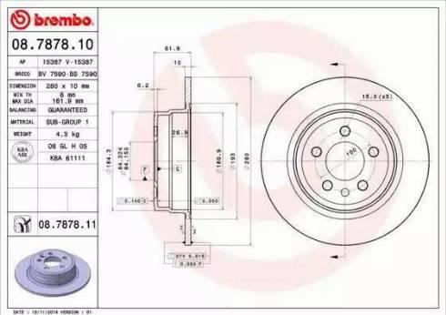 Brembo 08.7878.11 - Piduriketas multiparts.ee