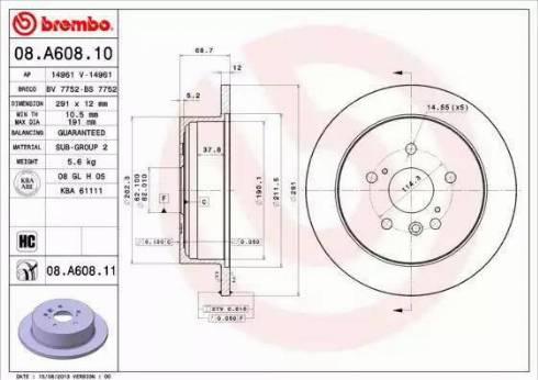 Brembo 08.A608.11 - Piduriketas multiparts.ee