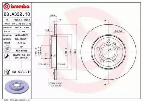 Brembo 08.A332.11 - Piduriketas multiparts.ee