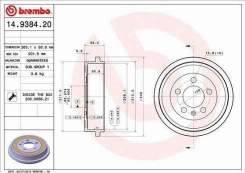 Brembo 14.9384.20 - Piduritrummel multiparts.ee