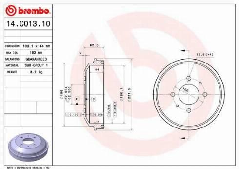 Brembo 14.C013.10 - Piduritrummel multiparts.ee