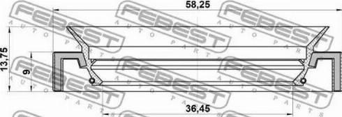 Febest 95HAY-38580914C - Võlli rõngastihend,diferentsiaal multiparts.ee