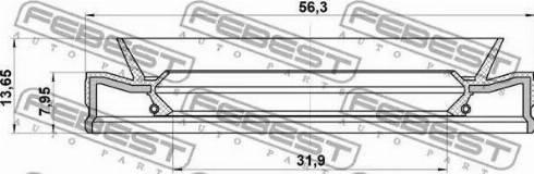 Febest 95HEY-33560814C - Võlli rõngastihend,automaatkäigukast multiparts.ee