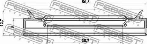 Febest 95PES-40560813C - Võlli rõngastihend,automaatkäigukast multiparts.ee