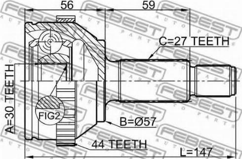 Febest 2110-MONA44 - Liigendlaager, veovõll multiparts.ee