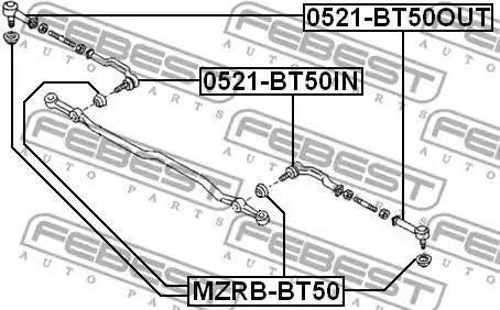 Febest MZRB-BT50 - Remondikomplekt, rooliots multiparts.ee