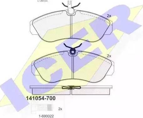 Icer 141054-700 - Piduriklotsi komplekt,ketaspidur multiparts.ee