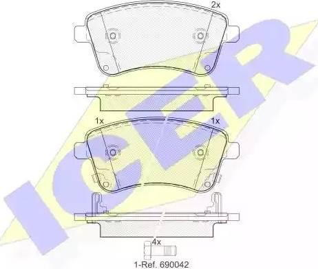 Icer 181985 - Piduriklotsi komplekt,ketaspidur multiparts.ee
