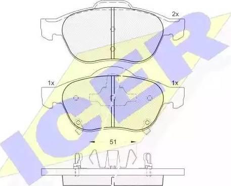 Icer 181556 - Piduriklotsi komplekt,ketaspidur multiparts.ee
