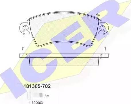 Icer 181365-702 - Piduriklotsi komplekt,ketaspidur multiparts.ee