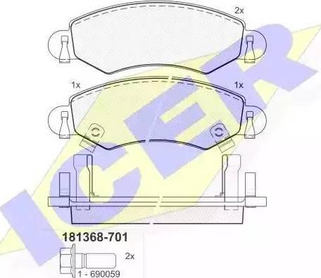 Icer 181368-701 - Piduriklotsi komplekt,ketaspidur multiparts.ee