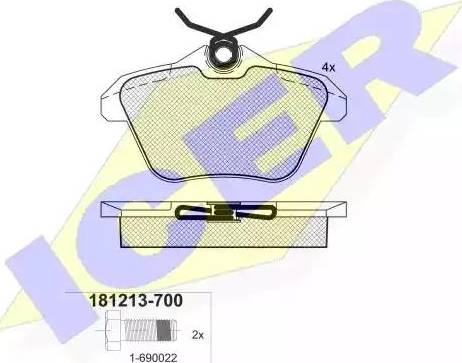 Icer 181213-700 - Piduriklotsi komplekt,ketaspidur multiparts.ee