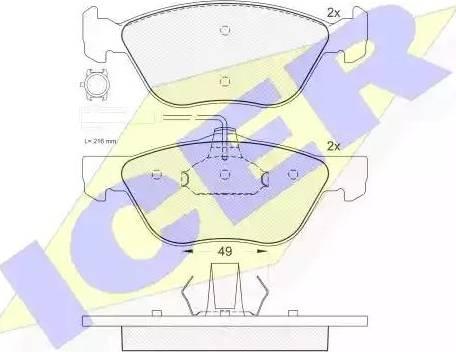 Icer 181283 - Piduriklotsi komplekt,ketaspidur multiparts.ee