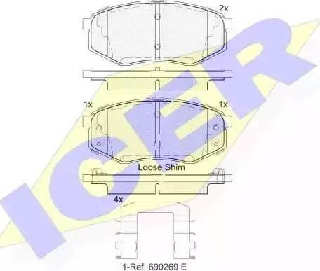 Icer 182094 - Piduriklotsi komplekt,ketaspidur multiparts.ee