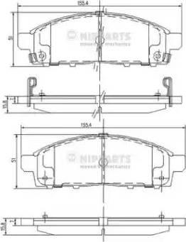 Nipparts J3605050 - Piduriklotsi komplekt,ketaspidur multiparts.ee