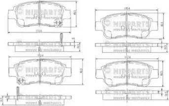 Nipparts J3602086 - Piduriklotsi komplekt,ketaspidur multiparts.ee