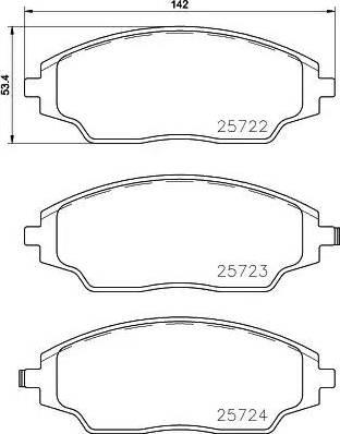 Textar 2572201 - Piduriklotsi komplekt,ketaspidur multiparts.ee