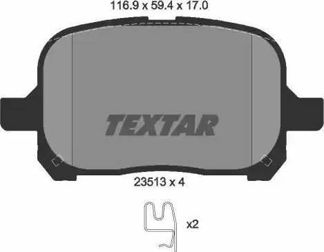 Textar 2351302 - Piduriklotsi komplekt,ketaspidur multiparts.ee