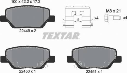 Textar 2244901 - Piduriklotsi komplekt,ketaspidur multiparts.ee