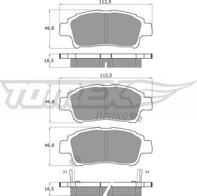 TOMEX brakes TX 13-87 - Piduriklotsi komplekt,ketaspidur multiparts.ee