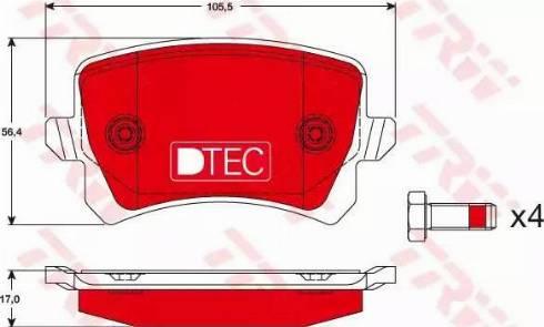 TRW GDB1763DTE - Piduriklotsi komplekt,ketaspidur multiparts.ee